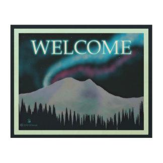 Blue Aurora - Welcome Wood Print