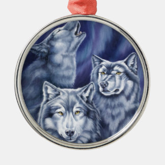 Blue Aurora Wolves Christmas Ornament