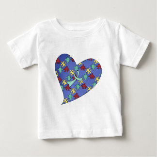 Blue Autism Awareness Puzzle Heart Baby T-Shirt