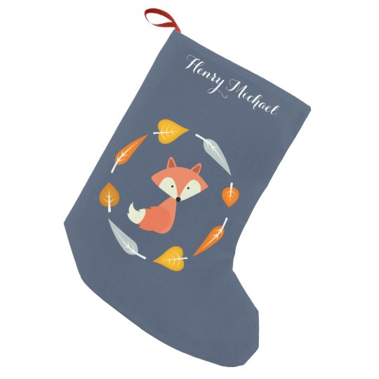 Blue Autumn Fox Small Christmas Stocking