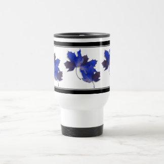 Blue Autumn Leaves Coffee Mugs