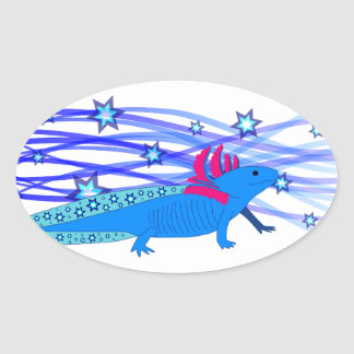 Blue Axolotl with stars Oval Sticker