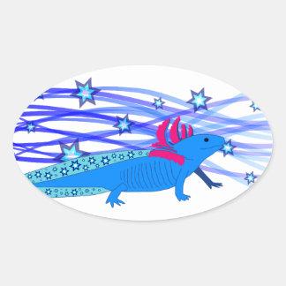 Blue Axolotl with stars Oval Sticker