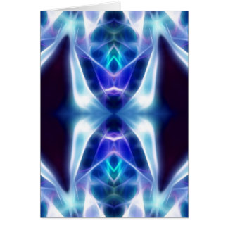 Blue Aztec abstract fractal design Card