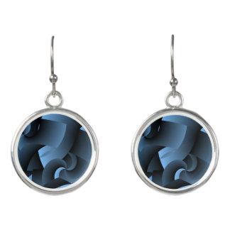 Blue Aztec Circular Drop Earrings
