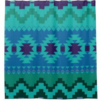 Blue Aztec Pattern Shower Curtain