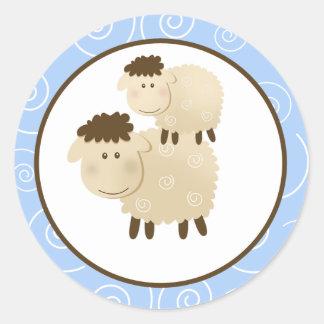 Blue Baa Baa Sheep Envelope Seals / Toppers 20 Round Sticker