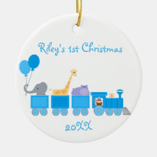 Blue Baby Animals On A Train Ornament