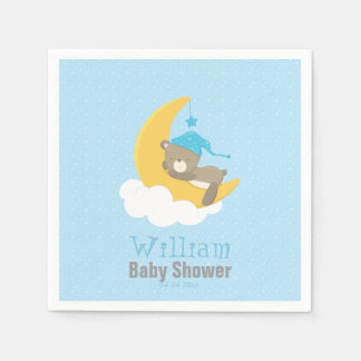 Blue Baby Bear Sleeping On The Moon - baby shower Disposable Napkin