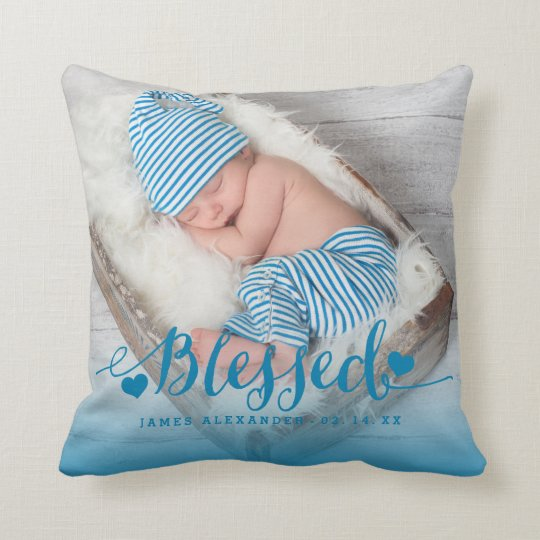 Blue Baby Birth Photo Keepsake Throw Pillow