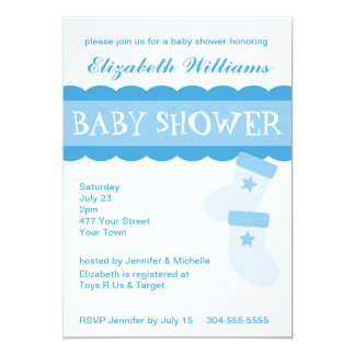 Blue Baby Booties Baby Shower 5x7 Paper Invitation Card