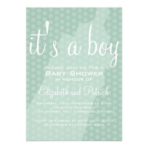 Blue Baby Bottle Polka Dots Baby Shower Invitation