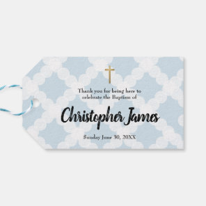 Blue Baby Boy Baptism horizontal Thank You Gift Tags