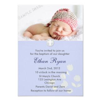 "Blue Baby Boy Christening Invitation 5"" X 7"" Invitation Card"