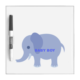 Blue Baby Boy Elephant Dry Erase Boards