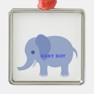 Blue Baby Boy Elephant Silver-Colored Square Decoration