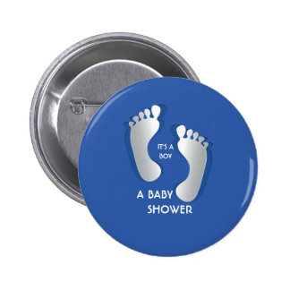 Blue Baby Boy FootPrints Baby Shower Button