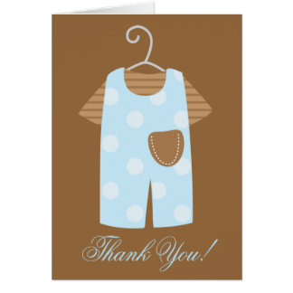 Blue Baby Boy Outfit Baby Shower Note Card