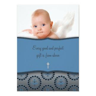 Blue Baby Boy Photo Christening 13 Cm X 18 Cm Invitation Card