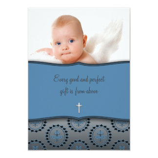 Blue Baby Boy Photo Christening Card