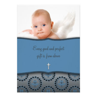 Blue Baby Boy Photo Christening Announcement