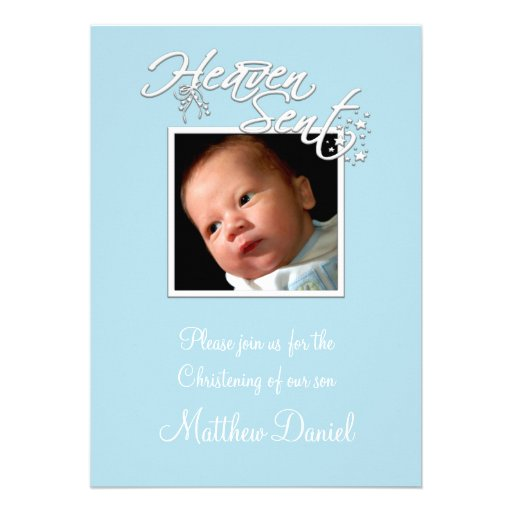 Blue Baby Boy Photo Christening Personalized Invites