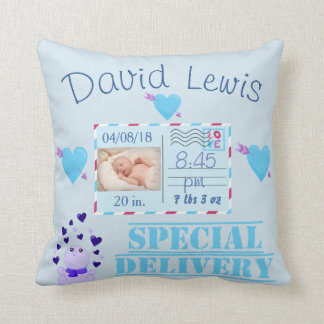 Blue Baby Boy Photo Nursery Keepsake Cushion