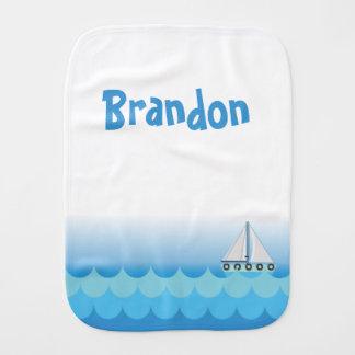 Blue Baby Boy Sailing Boat Sailor Ocean Sea Lake Burp Cloth