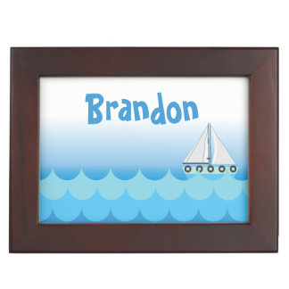 Blue Baby Boy Sailing Boat Sailor Ocean Sea Lake Keepsake Box