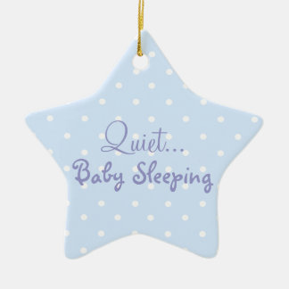 Blue baby boy sleeping door sign christmas ornament