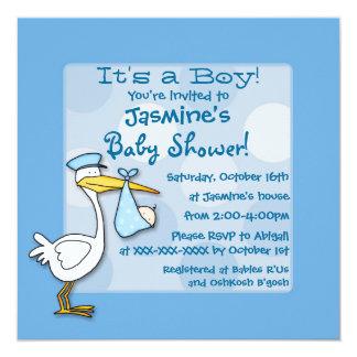 Blue baby boy stork polka dot shower invitations