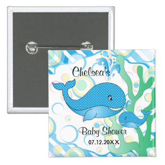 Blue Baby Boy Whale Baby Shower 15 Cm Square Badge