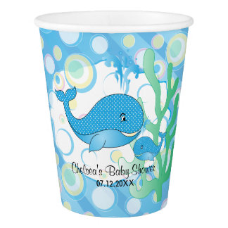 Blue Baby Boy Whale Baby Shower Paper Cup