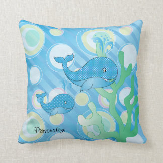 Blue Baby Boy Whale Cushion