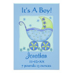 Blue Baby Buggy Boy Name Birth Announcement Art Poster