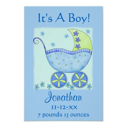 Blue Baby Buggy Boy Name Birth Announcement Art