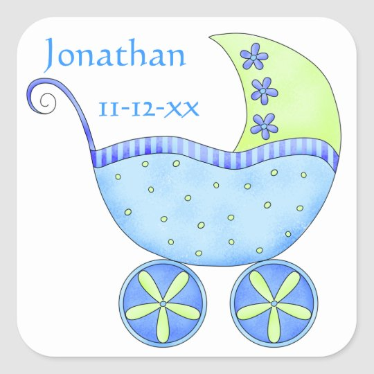 Blue Baby Buggy Boy Name Birth Date Announcement
