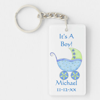 Blue Baby Buggy Carriage Name Birth Date Double-Sided Rectangular Acrylic Keychain