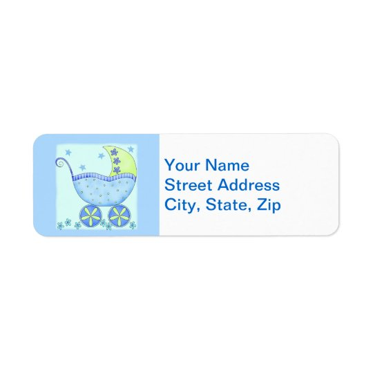 Blue Baby Buggy Carriage Shower Customised Return Address Label