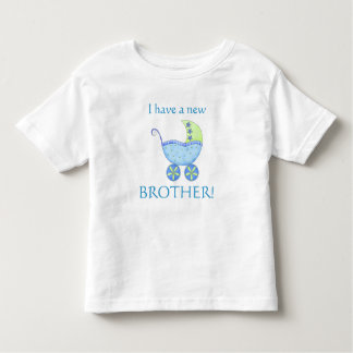 """Blue Baby Buggy """"I have a New Brother"""" Toddler Toddler T-Shirt"""