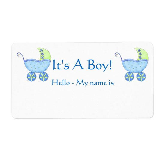 Blue Baby Buggy It's A Boy Shower Name