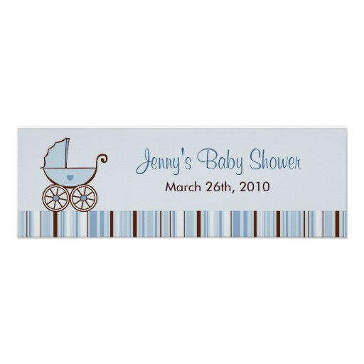 Blue Baby Buggy Personalised Baby Shower Banner Poster