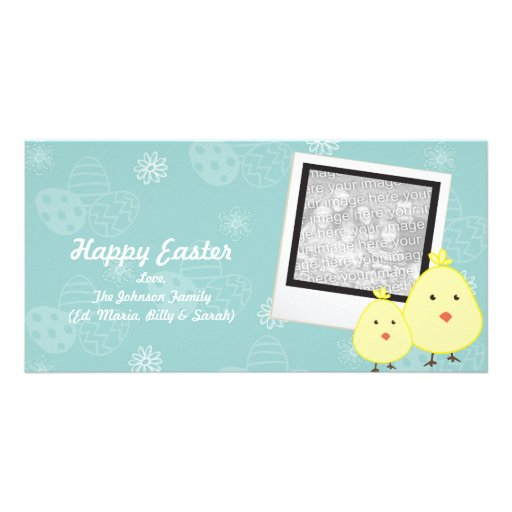 Blue Baby Chick Easter Photo Cards