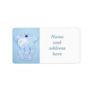 Blue baby clothes for infant boy address label