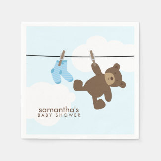 Blue Baby Clothesline and Teddy Bear Paper Serviettes