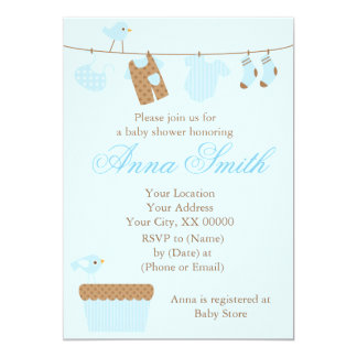 Blue Baby Clothesline Baby Shower 13 Cm X 18 Cm Invitation Card