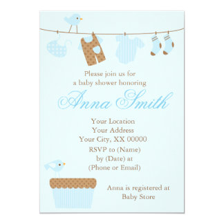 Blue Baby Clothesline Baby Shower Card