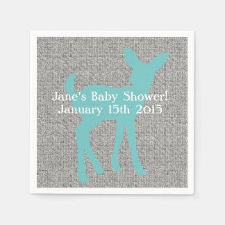 Blue Baby Deer and Gray Burlap Napkins Disposable Serviette