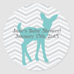 Blue Baby Deer and Grey Chevron Stickers