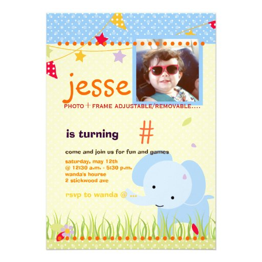 Blue Baby Elephant Personalized Party Personalized Announcements